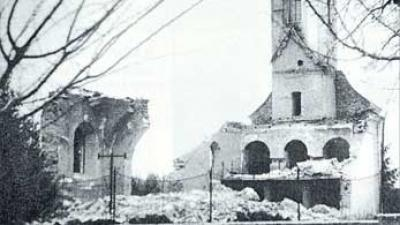 The Church of St. Michael the Archangel constructed in 1769, looted and destroyed in October 1991.